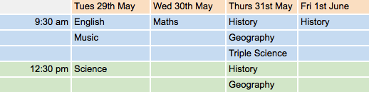 May Half Term Revision Classes 2018   Google Sheets
